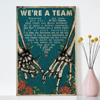 You And Me We Are Team Skulls Canvas - 0.75 & 1.5 In Framed - Home Living- Wall Decor, Canvas Wall Art