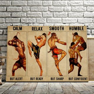 Boxing Man – Clam But Alert, Relax But Ready, Smooth But Sharp 0.75 & 1.5 In Framed Canvas- Home Decor, Canvas Wall Art