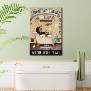 Dachshund Dog Bath House Canvas Canvas- 0.75 & 1.5 In Framed - Bathroom Decor- Home Decor, Canvas Wall Art