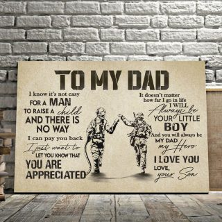 From Son To My Dad Firefighter It's Not Easy To Raise A Child Army Solider Canvas 0.75 & 1.5 In Framed Canvas - Wall Decor,Canvas Wall Art