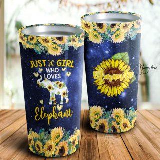 Just A Girl Who Loves Elephant- Sunflower Personalized Tumbler-Sunflower Mugs- Daughter Gift-Best Gift