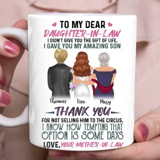 Dear Daughter In Law - Personalized custom daughter in law mug Wedding mug Mother gift idea family gift