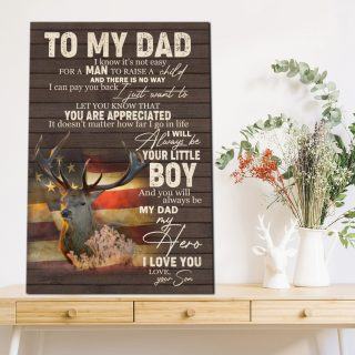 To My Dad Will Always Be Your Little Boy 0.75 & 1.5 In Framed Canvas- Father Gifts- Gift Idea - Home Decor- Wall Art