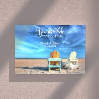 Personalized Relaxing on the Beach You And Me We Got This Framed Canvas - Couple Canvas -0.75 & 1.5 In Framed -Wall Decor, Canvas Wall Art