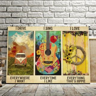 Travel I Drive I Like I Love Everything That's Hippie 0.75 & 1.5 In Framed Canvas - Family Gifts- Home Decor, Canvas Wall Art