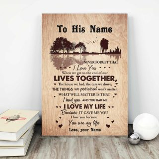 Personalized I Love You Because You Are My Life 0.75 In & 1.5 In Framed Canvas- Anniversary Gifts- Home Decor, Canvas Wall Art