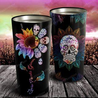 Sunflower and Skull Mandala Tatoo Stainless Steel Tumbler - Anniversary Gifts- Travel Cup, Skull Tatoo, Ideas Gifts