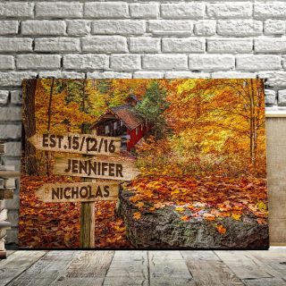Fall Leaves Fall Multi-Names Canvas - Family Street Signs Customized With Names- 0.75 & 1.5 In Framed -Wall Decor, Canvas Wall Art