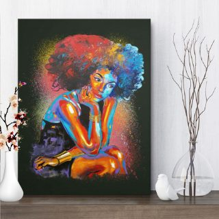 Afican American Woman Canvas- Afro Art Colorful For Living Room Home Decor 0.75 & 1.5 In Framed Canvas -Wall Decor, Canvas Wall Art