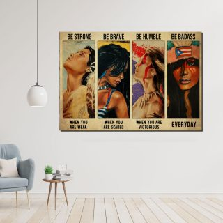 Puerto Rican Girls Be Strong Be Humble Be Badass 0.75 & 1.5 In Framed Canvas -Gift Idea - Home Decor, Wall Art