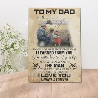 Father And Son Fishing - To My Dad I Love You Always And Forever From Son Canvas - 0.75 & 1.5 In Framed Canvas - Wall Decor, Canvas Wall Art