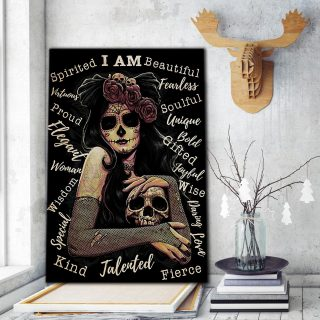 The Eccentric Girl With Tattoos And Skull Canvas- 0.75 & 1.5 In Framed Canvas - Home Wall Decor, Wall Art