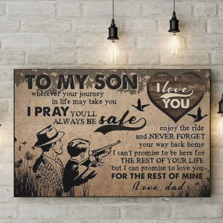 To My Son Wherever Your Journey In Life May Take You I Pray You Will Be Safe 0.75 & 1.5 In Framed Canvas - Wall Decor, Canvas Wall Art