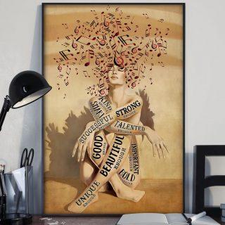 Girl Music – Successful, Beautiful, God Canvas - 0.75 & 1.5 In Framed -Wall Decor,Canvas Wall Art