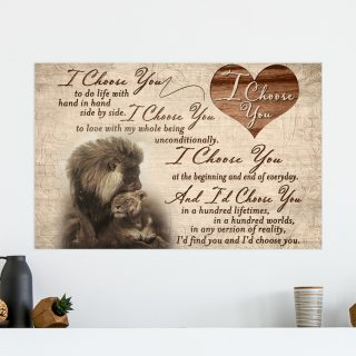 Lion I Choose You To Do Life With Hand In Hand Side By Side Canvas Prints - Canvas Wall Art - Family Quotes- Wall Decor, Canvas Wall Art
