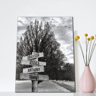 Snow Road and Birds- Multi-Names Premium Canvas - Street Signs Customized With Names- 0.75 & 1.5 In Framed -Wall Decor, Canvas Wall Art
