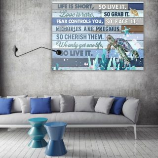 Turtle Life Is Short So Live It Love Is Rare So Grab It Gallery Wrapped Framed Canvas- 0.75 & 1.5 In Framed -Wall Decor, Canvas Wall Art