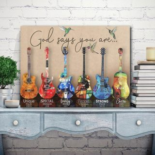 Guitar God Says You Are Unique Special Lovely Precious Strong Canvas Prints 0.75 & 1.5 In Framed Canvas - Home Decor, Canvas Wall Art