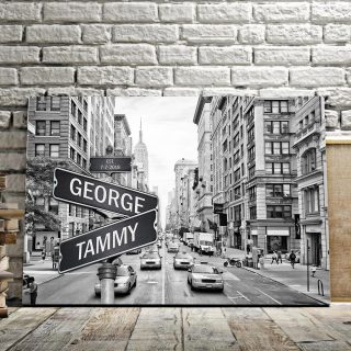 Personalized 5th Avenue NYC Traffic Canvas - Street Signs Customized With Names - 0.75& 1.5 In Framed -Wall Decor, Canvas Wall Art