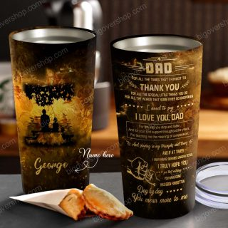 Dad And Son/ Daughter Galaxy Sunset Fishing& Sunset- Personalized Tumbler- Father's Day Gift, Dad Cup, Best Dad Gift