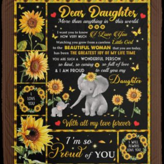 Dear Daughter More Than Anything in This World Sunflower Elephant Fleece Blanket -Christmas Best Gifts For Daughter From Dad and Mom