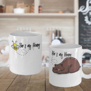 She's My Honey Bee He's My Honey Bear Couple Mugs- Couple Mugs- Couple Coffee Cups- Dad and Mom Gift- Gift for Anniversary- Wedding Gift