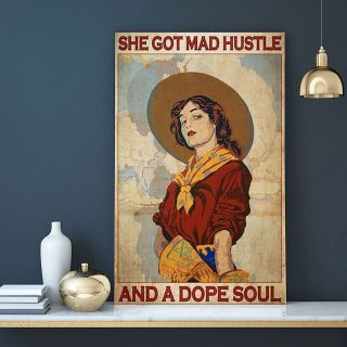 She Got Mad Hustle And A Dope Soul 0.75 & 1.5 In Framed Canvas - Home Living -Wall Decor, Canvas Wall Art
