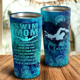 Swim Mom Job Description Personalized Tumbler- Mother's Day Gift, Mom Tumbler, Mom Cup, Best Mom Gift