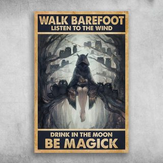 Walk Barefoot Listen To The Wind Drink In The Moon Be Magick Canvas 0.75 & 1.5 In Framed -Home Living - Wall Decor, Canvas Wall Art