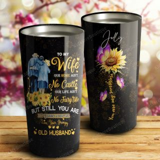 Sunflower To My Wife - You Are My Beautiful Queen Forever Stainless Steel Tumbler- Travel Cup, Cup for Wife, Best Gift for Wife From Husband