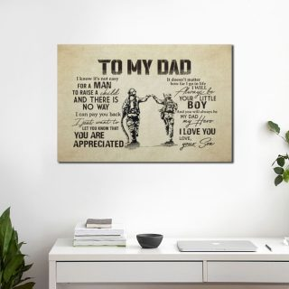 Firefighter To My Dad You'll Always Be My Hero Canvas - Best Gifts For Dad - Ideas Gifts- Home Living- Wall Decor, Canvas Wall Art