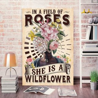 In A Field Of Roses She Is A Wildflower 0.75 & 1.5 In Framed Canvas -Gift For Melanin Girls Women, Afro Ladies- Home Decor, Canvas Wall Art