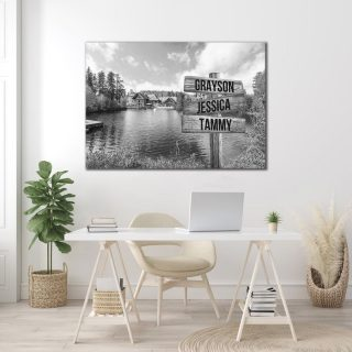 Black and White Beautiful Lake Canvas - Family Street Signs Customized With Names- 0.75 & 1.5 In Framed -Wall Decor, Canvas Wall Art