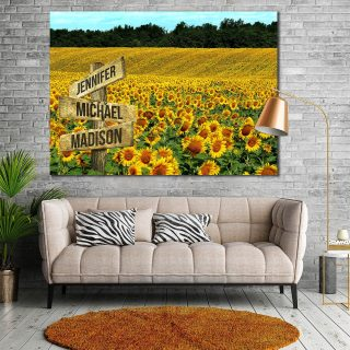 Beautiful Sunflower Field 0.75 & 1.5 In Framed Canvas -Street Signs Customized With Names - Wall Decor,Canvas Wall Art