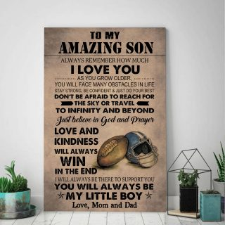 To My Amazing Son Just Believe In God And Prayer Love And Kindess Will Always Win Canvas - 0.75 & 1.5 In Framed -Wall Decor, Canvas Wall Art