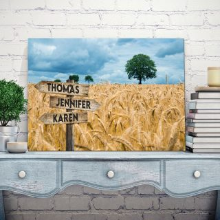 Barley Garden Multi-Names Canvas - Family Street Signs Customized With Names- 0.75 & 1.5 In Framed -Wall Decor, Canvas Wall Art