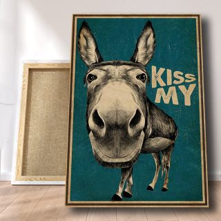 Funny Canvas Kiss My Donkey 0.75 & 1.5 In Framed Canvas -Gift Ideas- Homw Living Wall Decor, Canvas Wall Art