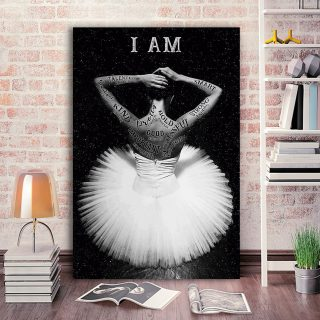 Ballet Dancer With White Dress – I Am Talented, Smart And Strong Canvas - 0.75 & 1.5 In Framed - Home Decor, Canvas Wall Art