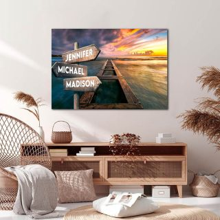 Personalized Beautiful Sunrise and Beach Canvas -Street Signs Customized With Names - 0.75 & 1.5 In Framed -Wall Decor, Canvas Wall Art