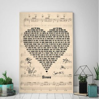 Sirens by Lyrics Song - Signs From Heaven 0.75 & 1.5 In Framed Canvas - Home Living, Wall Decor, Canvas Wall Art