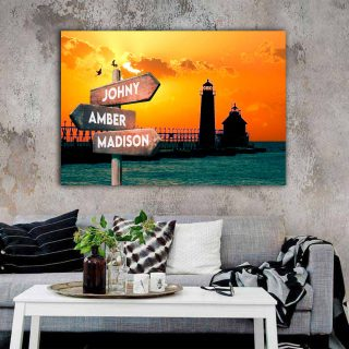 Sunset And Lighthouse Multi-Names Canvas - Family Street Signs Customized With Names- 0.75 & 1.5 In Framed -Wall Decor, Canvas Wall Art