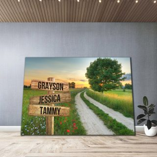 Personalized Summer Country Road Canvas - Street Signs Customized With Names - 0.75& 1.5 In Framed -Wall Decor, Canvas Wall Art