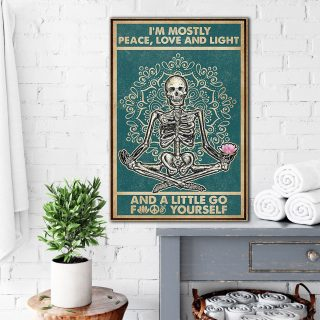 Skeleton Yoga Im Mostly Peace Love And Light Canvas- 0.75 & 1.5 In Framed Canvas - Home Wall Decor, Wall Art