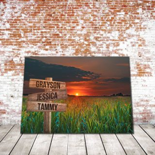 Personalized Beautiful Grasslands Field 0.75 & 1.5 In Framed Canvas -Street Signs Customized With Names - Wall Decor,Canvas Wall Art