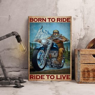 Motorcycle Mountain Born To Ride Ride To Live 0.75 & 1.5 In Framed Canvas - Home Decor, Canvas Wall Art