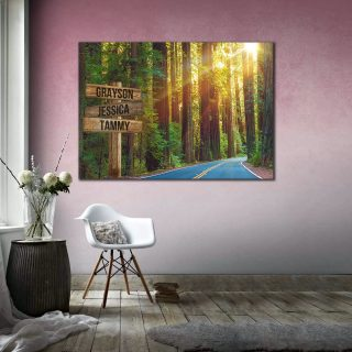 Personalized Tranquil Road Multi-Names Premium Canvas Street Signs Customized With Names -0.75 & 1.5 In Framed -Wall Decor, Canvas Wall Art