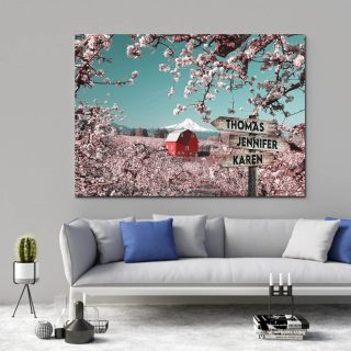Snow Mountain And Flower Multi-Names Canvas - Family Street Signs Customized With Names- 0.75 & 1.5 In Framed -Wall Decor, Canvas Wall Art