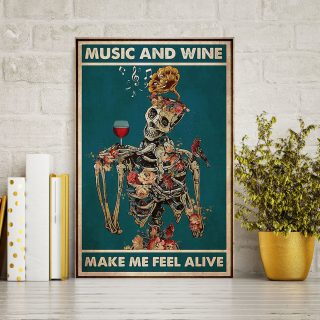 Skeleton Music and Wine Make Me Feel Alive 0.75 & 1.5 In Framed Canvas - Wall Decor, Canvas Wall Art