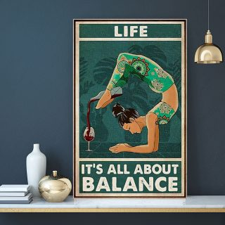 Yoga Wine Life It's All About Balance Canvas - 0.75 & 1.5 In Framed - Home Living - Wall Decor, Canvas Wall Art