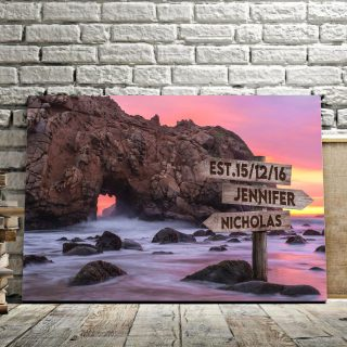 Pfeiffer Beach Multi-Names Canvas - Family Street Signs Customized With Names- 0.75 & 1.5 In Framed -Wall Decor, Canvas Wall Art